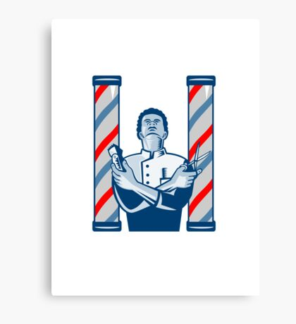 Barber With Pole Hair Clipper and Scissors Retro  Canvas Print