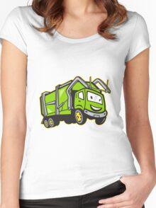 Garbage Rubbish Truck Cartoon  Women's Fitted Scoop T-Shirt