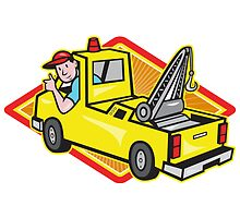 Tow Wrecker Truck Driver Thumbs Up  by patrimonio