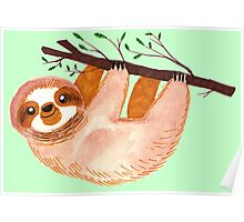 Kawaii Sloth Watercolor Poster