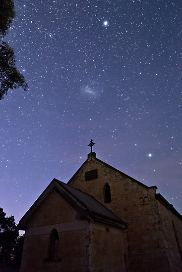 Lutheran Church Ruin, Canopus and Large Magellanic Cloud by pablosvista2