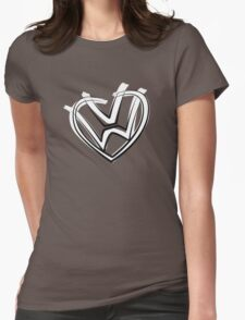 VW heart logo in a painted style Womens Fitted T-Shirt