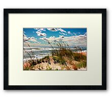 FALL DAY AT THE BEACH Framed Print