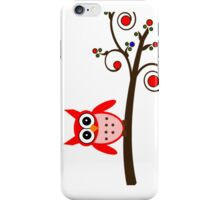 Red Owl on Cherry Tree Branch iPhone Case/Skin