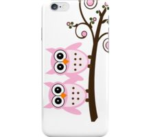 Two Pink Owls on Brown Tree Limb iPhone Case/Skin