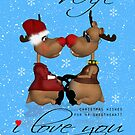 Wife Christmas Greeting Card With Reindeer by Moonlake