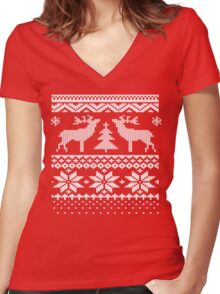 Ugly Sweater Christmas T Shirt Women's Fitted V-Neck T-Shirt