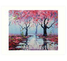 Misty Blossom Trees Art Print
