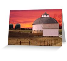Round Barn Round Bales Greeting Card