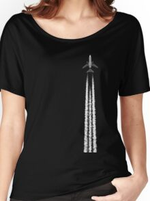 PLANE WITH CONTRAILS Women's Relaxed Fit T-Shirt