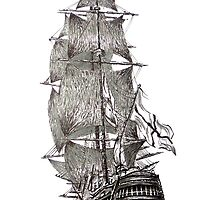 Pen and Ink of Sailboat by Mario Perez