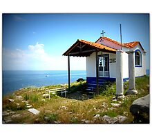 The little cliff-top church in Thassos. Photographic Print