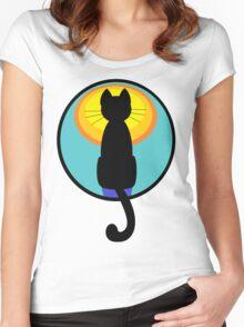 Sunrise Sunset Cat Women's Fitted Scoop T-Shirt