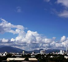 blue sky with clouds closeup clean and bright by quangmauthanh