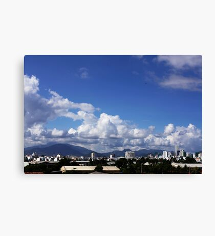 blue sky with clouds closeup clean and bright Canvas Print