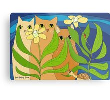Three Cats, Two Flowers, One Snail and A Ladybug Metal Print