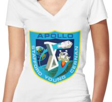 Apollo 10 Mission Logo Women's Fitted V-Neck T-Shirt