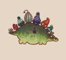 Green Stegosaurus Derposaur with Hats by Madison Russell