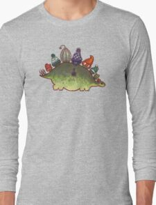 Green Stegosaurus Derposaur with Hats Long Sleeve T-Shirt