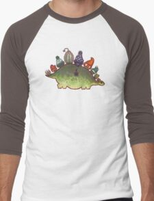 Green Stegosaurus Derposaur with Hats Men's Baseball ¾ T-Shirt
