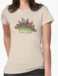 Green Stegosaurus Derposaur with Hats Womens Fitted T-Shirt