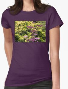 Purple Flowers Against Green Shrubs Womens Fitted T-Shirt