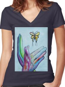 American Sign Language BUTTERFLY Women's Fitted V-Neck T-Shirt