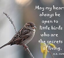 Sparrow with quote about little birds by Linda Crockett
