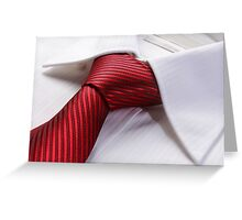 White dress shirt with red tie detailed closeup Greeting Card