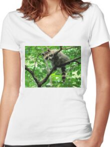 Yeah, I'm just hangin' out. Whatchu doin'? Women's Fitted V-Neck T-Shirt