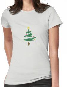 Brush Stroke Christmas Tree Womens Fitted T-Shirt