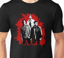 Castiel, Dean, and Sam on Red Supernatural Unisex T-Shirt