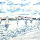 sailboats sailing seascape beach watercolour painting art print by derekmccrea