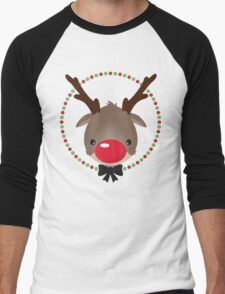 FESTIVE CHRISTMAS T-SHIRT :: rudolph the red nosed reindeer Men's Baseball ¾ T-Shirt