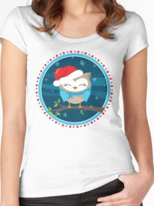 FESTIVE CHRISTMAS T-SHIRT :: boy owl night time Women's Fitted Scoop T-Shirt