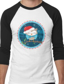 FESTIVE CHRISTMAS T-SHIRT :: boy owl night time Men's Baseball ¾ T-Shirt
