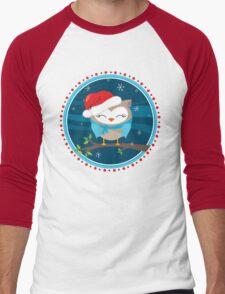 FESTIVE CHRISTMAS T-SHIRT :: boy owl night time Men's Baseball ¾ T-Shirt