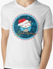 FESTIVE CHRISTMAS T-SHIRT :: boy owl night time Mens V-Neck T-Shirt