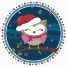 FESTIVE CHRISTMAS T-SHIRT :: girl owl night time by Kat Massard