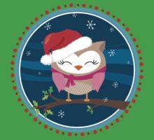 FESTIVE CHRISTMAS T-SHIRT :: girl owl night time Kids Clothes