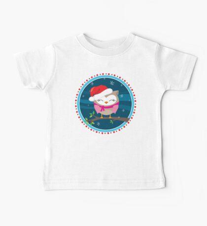 FESTIVE CHRISTMAS T-SHIRT :: girl owl night time Baby Tee