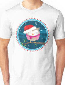 FESTIVE CHRISTMAS T-SHIRT :: girl owl night time Unisex T-Shirt