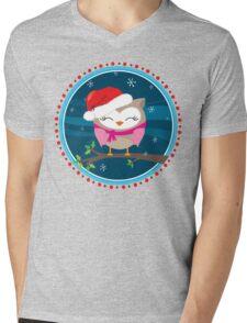 FESTIVE CHRISTMAS T-SHIRT :: girl owl night time Mens V-Neck T-Shirt