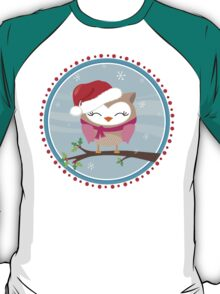 FESTIVE CHRISTMAS T-SHIRT :: girl owl day time T-Shirt