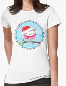 FESTIVE CHRISTMAS T-SHIRT :: girl owl day time Womens Fitted T-Shirt