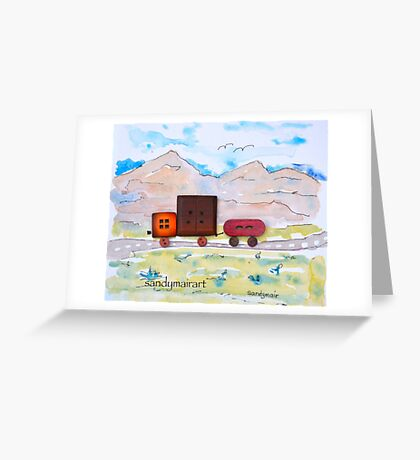 Button Truck and Trailer Greeting Card