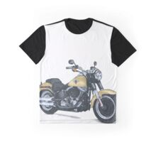 Illustrated Graphic Tee - Harley Fatboy motorcycle Graphic T-Shirt