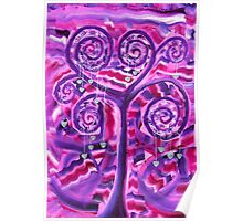 Purple Tree Little Silver Hearts Acrylic Painting Poster