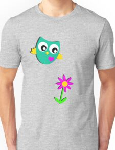 Cute Owl and a Flower Unisex T-Shirt