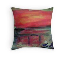 The pier seen at sunset by a couple, watercolor Throw Pillow